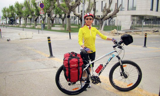 Cyclist ready for the cycle-touring in Lisbon, Portugal