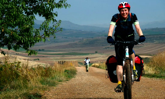 Biker on the Camino de Santiago