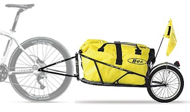 Bob Yak Trailer with yellow dry bag attached to bike