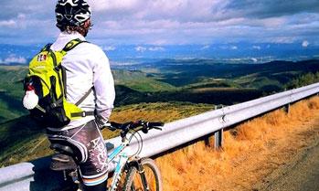 Mountain Biker enjoying the views in Spain