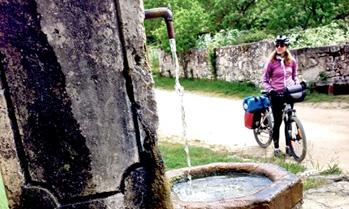 Village water fountain on the Camino de Santiago, Spain