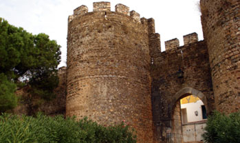 Castle tower and entrance in Vila Vicosa, Portugal