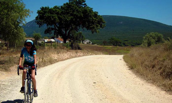 Cyclist in Arrabida Nature Reserve Area