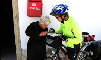 Cyclist asking for directions to an elderly lady
