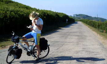 Cyclist looking for direction on a book in a country side road