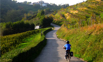 Child cycle-touring in Northern Spain rural area