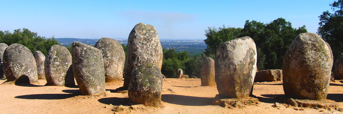 Almendres Cromlech in Evora, Portugal