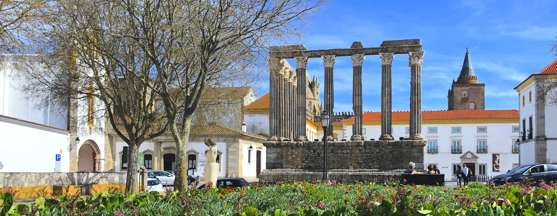 Evora Roman Temple and cathedral tower