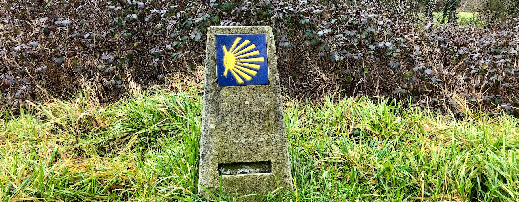 Old Camino Santiago sign with yellow shell marking 10kms to Santiago