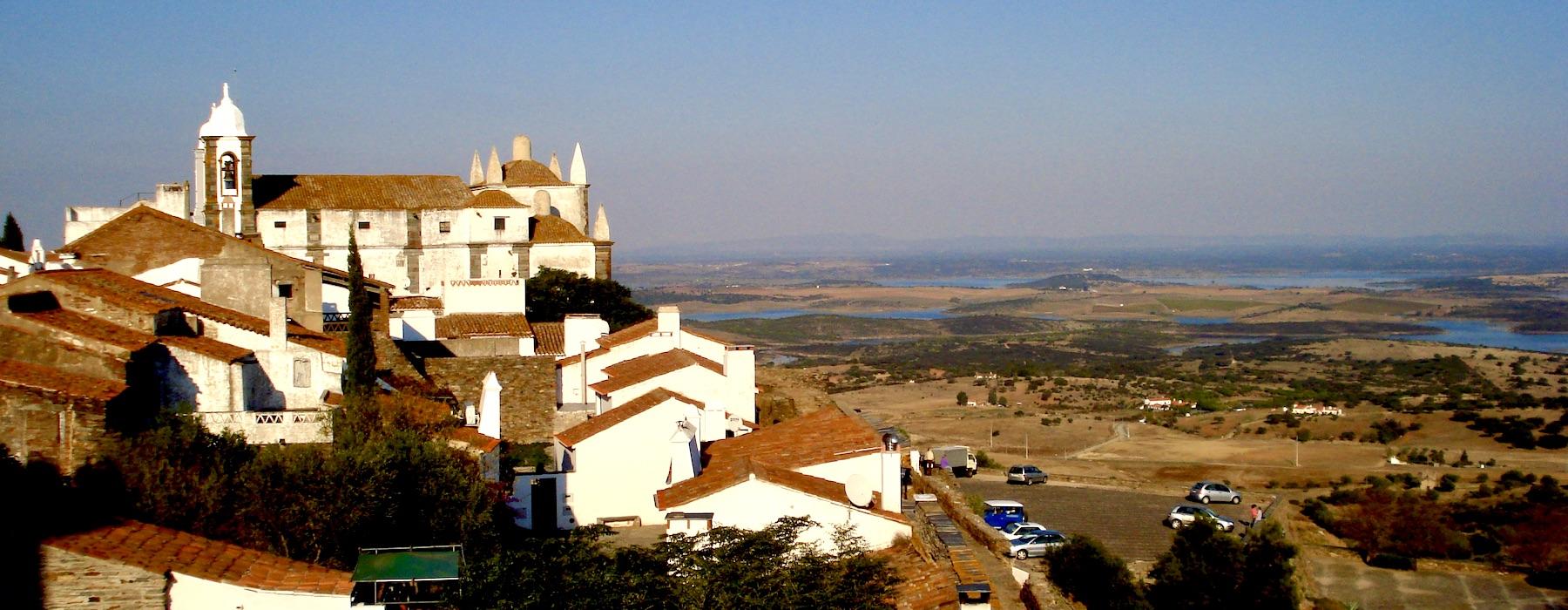 Views of Monsaraz roof tops and alqueva lake