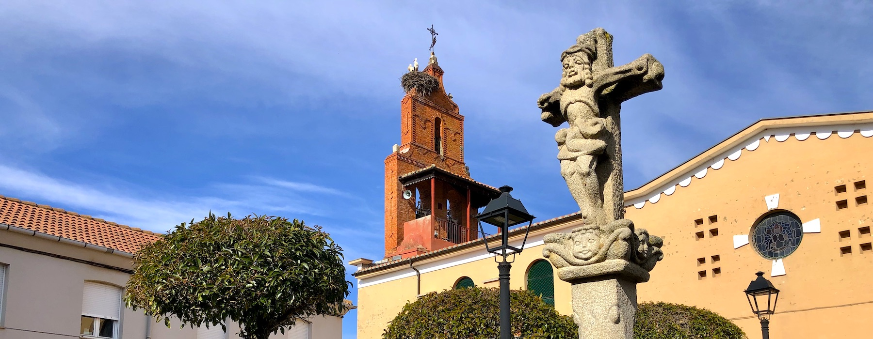 Church tower and Pilory in San Martin del Camino