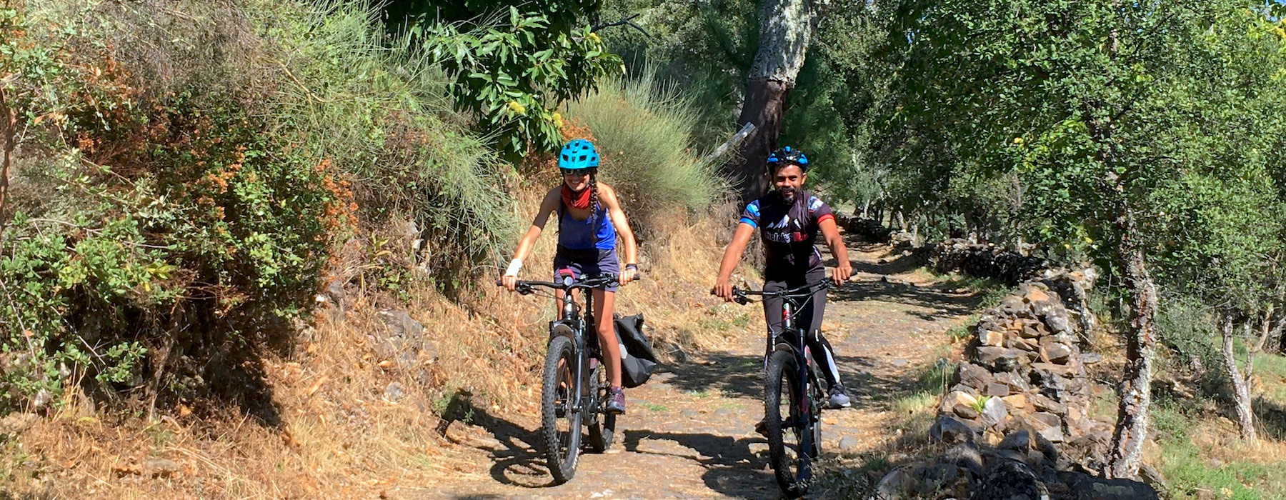 Bikers on unpaved trail